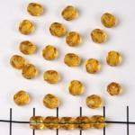 Tsjechisch facet rond 6 mm - bruin amber