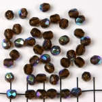 Czech faceted round 6 mm - dark brown with ab finish