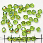 Czech faceted round 6 mm - green olivine with ab finish