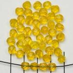 Tsjechisch facet rond 6 mm - geel jantar