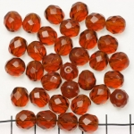 Czech faceted round 8 mm - brown madeira topaz