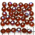 Czech faceted round 8 mm - brown madeira topaz ab