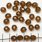 Czech faceted round 8 mm - brown smoked topaz
