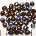 Czech faceted round 8 mm - brown smoked topaz ab