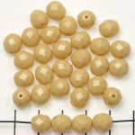 Czech faceted round 8 mm - beige isabela opaque