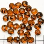Tsjechisch facet rond 8 mm - bruin tortoise transparent