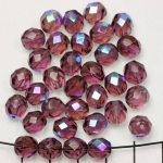 Tsjechisch facet rond 8 mm - paars amethyst ab
