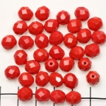 Czech faceted round 8 mm - red coral matte