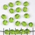 Tsjechisch facet rond 8 mm - licht groen olivine