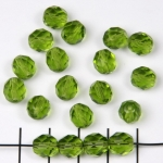 Czech faceted round 8 mm - green olivine