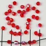 Tsjechisch facet rond 4 mm - rood met ab glans