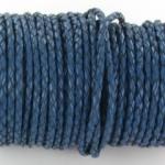 gevlochten leer 3 mm - donkerblauw