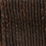 braided leather 3 mm - darkbrown with a brown edge