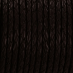 braided leather 3 mm - dark brown