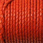 braided leather 3 mm - orange brown