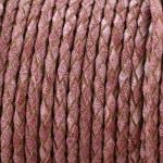 gevlochten leer 3 mm - oud roze