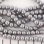 glass pearls 6 mm - silvergrey