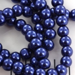 glass pearl 8 mm - dark blue
