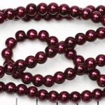 glass pearls 6 mm - dark purple