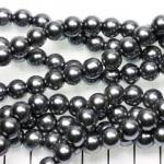 glass pearl 8 mm - grey dark silver