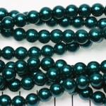 glass pearl 8 mm - dark turquoise petrol
