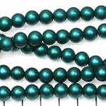 glass pearls matte 8 mm - dark turquoise petrol