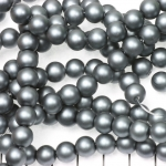 glass pearls matte 8 mm - grey dark silver