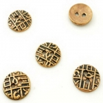 metal button round wrought 16 mm - gold