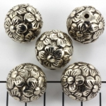 flower round 21 mm - antique silver