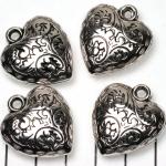 versierd hart - zilver 28 mm