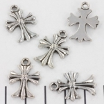 pendant cross decorated - silver