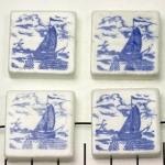 delft-ware ceramic tile horizontal - sailing boat