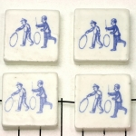 delft-ware ceramic tile horizontal - kids with a hoop