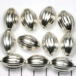 oval striped 19 mm - silver matte