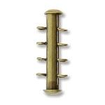 insteekslot magnetisch - 4 oogjes verticaal brons