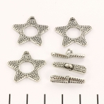 toggle clasp star dotted - silver