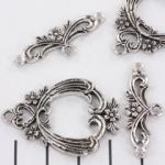 kappitelslot bloem versierd - zilver