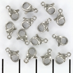 lobster clasp extra strong stainless steel - silver 10 mm