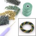DIY kit armband haken met 6/0 - opaque picasso