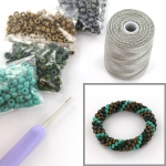 DIY kit bracelet crochet with 6/0 - matte lagoon