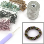 DIY kit armband haken met 6/0 - mauve picasso