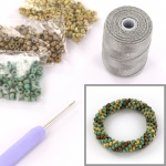 DIY kit bracelet crochet with 6/0 - bronze picasso