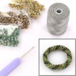DIY kit armband haken met 6/0 - bronze picasso