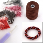 DIY kit bracelet crochet with 6/0 - pink terra