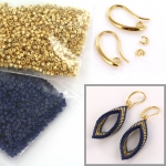 DIY kit twisted oorbellen - blauw en goud