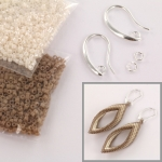 DIY kit twisted oorbellen - beige en creme
