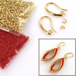 DIY kit twisted earrings - red and gold