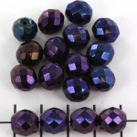 Czech faceted round 10 mm - blue purple ab