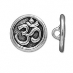 ohm button - antique silver
