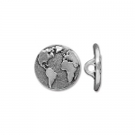 earth button 16 mm - zilver